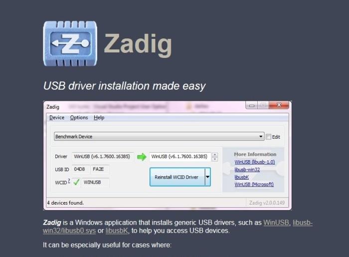 Zadig USB driver installation made easy  - bhiwafhoulen ml